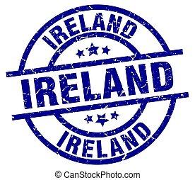 Ireland blue round grunge stamp