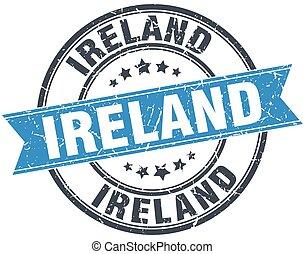 Ireland blue round grunge vintage ribbon stamp