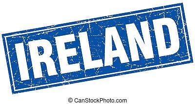 Ireland blue square grunge vintage isolated stamp