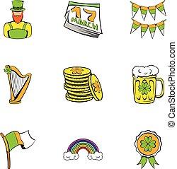 Ireland day icons set, cartoon style