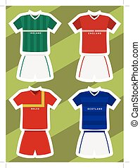 ireland, england, wales and scotland football jerseys