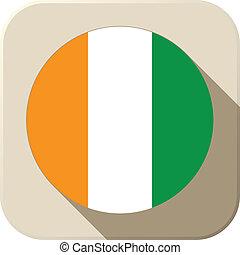Ireland Flag Button Icon Modern