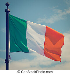 Ireland Flag - Flag of Ireland with retro effect
