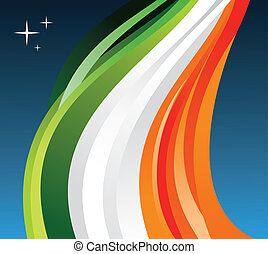Ireland flag illustration fluttering on a gray background. Vector file available.