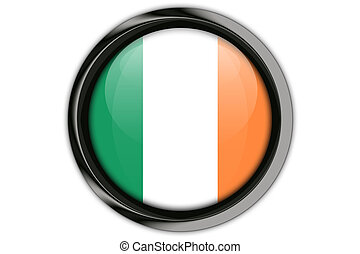 Ireland flag in the button pin Isolated on White Background