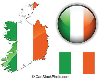 Ireland flag, map and glossy button, vector illustration set.