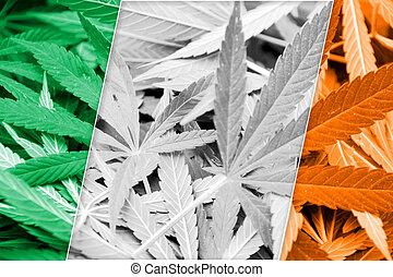 Ireland Flag on cannabis background. Drug policy. ...