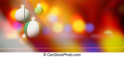 Ireland flag on Christmas ball with blurred and abstract background.