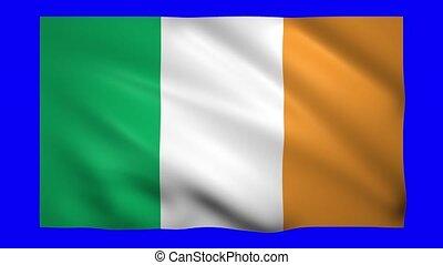 Ireland flag on green screen for chroma key
