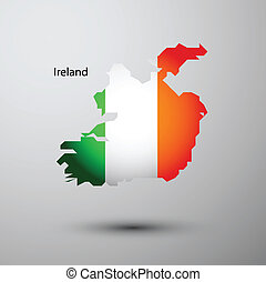 Ireland flag on map of country