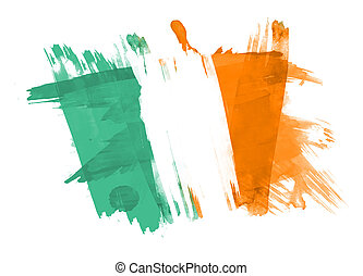 Ireland Flag painted in White Background