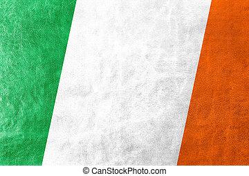 Ireland Flag painted on leather texture