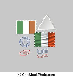 IRELAND flag postage stamp set, isolated on gray background, vector illustration. 10 eps