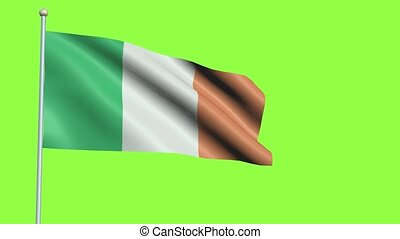 Ireland Flag in 3D render with green screen background in Slow Motion