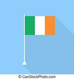 Ireland Flag. Vector illustration of a flat design.