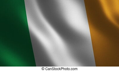 Ireland flag waving 3d. Abstract background. Loop animation....