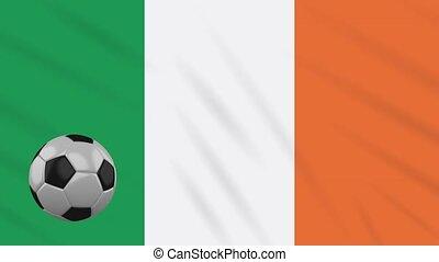 Ireland flag waving and football rotates, loop