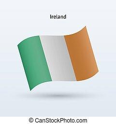 Ireland flag waving form. Vector illustration.