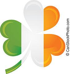 Ireland Flag with Shamrock Silhouette Illustration