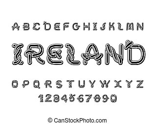 Ireland font. National Celtic alphabet. Traditional Irish ornament letter