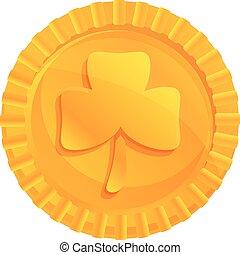 Ireland gold lucky coin icon, cartoon style