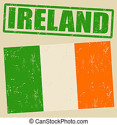 Ireland grunge flag on vintage background and ireland rubber stamp, vector illustration