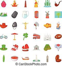 Ireland icons set, cartoon style