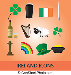 ireland icons set eps10