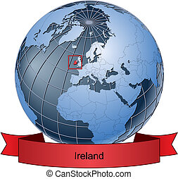 Ireland, position on the globe Vector version with separate...