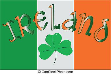 Ireland - The Republic of Ireland flag with the text IRELAND...