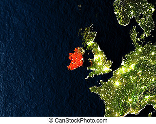 Ireland in red from space at night
