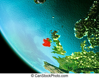 Ireland in red in the evening