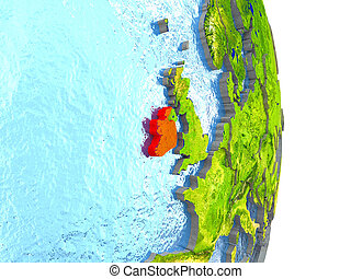 Ireland in red on Earth