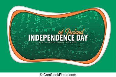 Ireland. Independence day greeting card. Paper cut style.