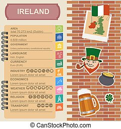 Ireland infographics, statistical data, sights. Vector...