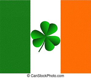 Illustration of a shamrock against the Ireland Irish flag colors, green, white and orange.