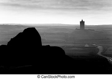 ireland landscape with castle