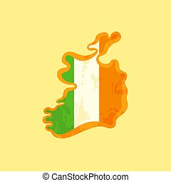 Ireland - Map colored with Irish flag