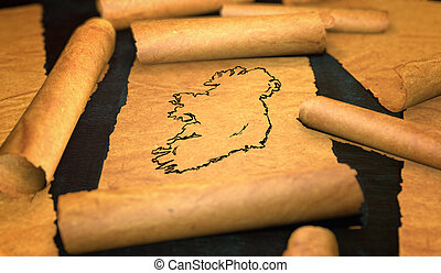 Ireland Map Drawing Unfolding Old Paper Scroll 3D