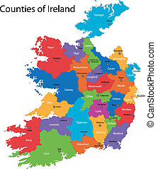 Ireland map - Colorful Republic of Ireland map with regions...