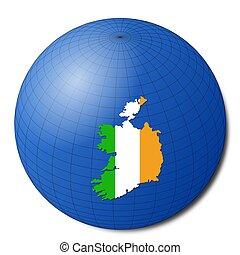 Ireland map flag on abstract globe illustration