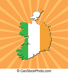 Ireland map flag on sunburst