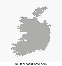 Ireland map in gray on white background