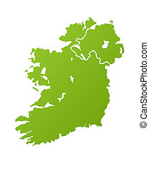 Ireland map in green, isolated on white background.