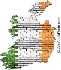 Ireland map on a brick wall