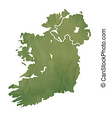 Ireland map on green paper - Ireland map in old green paper...