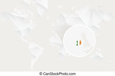 Ireland map with flag in contour on white polygonal World Map.