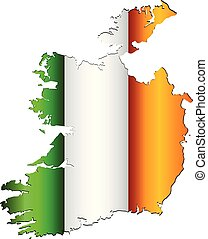 Ireland map with flag inside