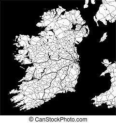 Ireland Monochrome Map Artprint