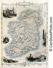 Ireland old map. Created by John Tallis, published on...